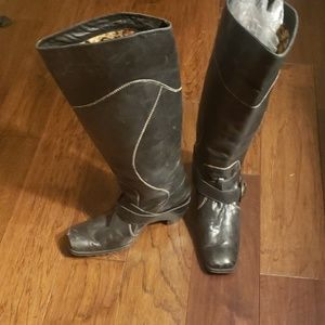 Gigi Black Tall Buckle Boots 8.5 Boutique